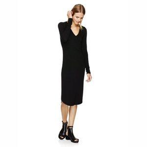 Aritzia Wilfred Free Long Sleeve v-neck midi dress